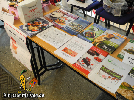 Flyer and brochures at the Vegan Bake Sale Tromsø
